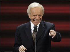 Sen. Joe Lieberman, I-Conn., points into the crowd before speaking at the Republican National Convention in St. Paul, Minn., Tuesday, Sept. 2, 2008.  (AP Photo/Ron Edmonds)