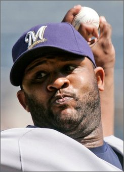 Milwaukee Brewers CC Sabathia  throws in the second inning against the Pittsburgh Pirates in a baseball game in Pittsburgh, Sunday, Aug. 31, 2008. Sabathia threw a complete game one-hitter in a 7-0 Brewers win. (AP Photo/Gene J. Puskar)