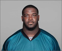 This handout provided by the NFL shows Jacksonville Jaguars football player Richard Collier. Collier was shot while waiting for some women outside an apartment early Tuesday Sept. 2, 2008 in Jacksonvile, Fla., and sustained life-threatening injuries, authorities said. (AP Photo/NFL)