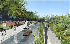 In this artist rendering provided by Field Operations and Diller Scofidio + Renfro, released courtesy of the City of New York, the proposed sundeck on the Highline Park is shown. A section of a long-abandoned elevated railway track that snaked above Manhattan is set to open by the end 2008 as a park.  (AP Photo/Field Operations and Diller Scofidio + Renfro, courtesy of the City of New York, File)