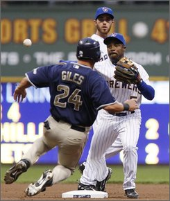 San Diego Padres' Nick Hundley hits an RBI double during the fourth inning of a baseball game against the Milwaukee Brewers on Thursday, Sept. 4, 2008, in Milwaukee. (AP Photo/Morry Gash)