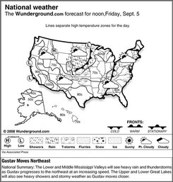 The Weather Underground forecast for Friday, Sept. 5, 2008, shows the Lower and Middle Mississippi Valleys will see heavy rain and thunderstorms as Gustav progresses to the northeast at an increasing speed. The Upper and Lower Great Lakes will also see heavy showers and stormy weather as Gustav moves closer. (AP Photo/Weather Underground)
