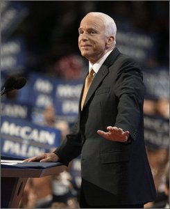 Republican presidential nominee John McCain addresses the Republican National Convention in St. Paul, Minn., Thursday, Sept. 4, 2008. (AP Photo/Charlie Neibergall)