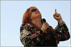 Singer Wynonna Judd performs during a celebration of the AARP's 50th Anniversary held in Washington on Thursday Sept. 4, 2008.  (AP Photo/Jacquelyn Martin)