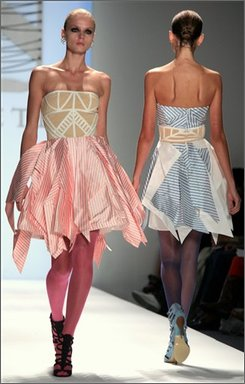 Abaete fashion for Spring 2009 from designer Laura Poretzky is modeled during Fashion Week in New York, Saturday, Sept. 6, 2008.  (AP Photo/Bebeto Matthews)
