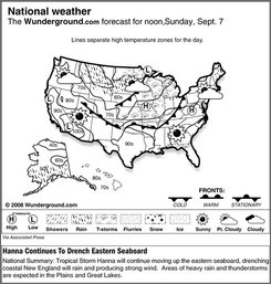 The forecast for noon, Sunday, Sept. 7, 2008 shows Tropical Storm Hanna will continue moving up the eastern seaboard, drenching coastal New England will rain and producing strong wind.  Areas of heavy rain and thunderstorms are expected in the Plains and Great Lakes. (AP Photo/Weather Underground)