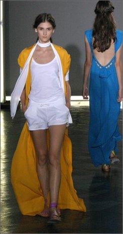 A model walks down the runway at the Adam fashion show, New York, Saturday, Sept. 6, 2008. (AP Photo/Aimee Maude Sims)