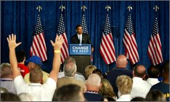 Democratic presidential candidate Sen. Barack Obama, D-Ill. gets cheers from the crowd during his speech about his policy to reform America's education system, Tuesday, Sept. 9, 2008, at Stebbins High School in Dayton, Ohio. (AP Photo/Skip Peterson)