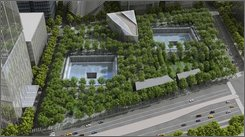This artist's rendering provided by the National September 11 Memorial & Museum shows an aerial view of the proposed memorial quadrant. The museum unveiled the design Tuesday, Sept. 9, 2008, for the entrance pavilion, top center, and repeated hopes that a new construction schedule at ground zero would allow the memorial to open by the attacks' 10th anniversary. (AP Photo/National September 11 Memorial & Museum, Squared Design Lab)