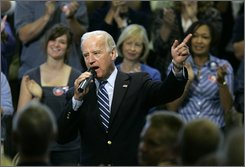 Democratic vice presidential candidate Sen. Joe Biden, D-Del., speaks to supporters at Mehlville High School in St. Louis, Tuesday, Sept. 9, 2008. (AP Photo/Jeff Roberson)