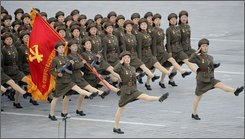 North Korean soldiers parade through Kim Il Sung Square in Pyongyang, North Korea, Tuesday, Sept. 9, 2008. North Korea marked the 60th anniversary of its founding Tuesday amid news reports that the communist country's leader Kim Jong Il did not attend a closely watched parade amid recent speculation that he may be ill. (AP Photo/Kyodo News)