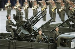 North Korean antiaircraft artillery parades through Kim Il Sung Square in Pyongyang, North Korea, Tuesday, Sept. 9, 2008. North Korea marked the 60th anniversary of its founding Tuesday amid news reports that the communist country's leader Kim Jong Il did not attend a closely watched parade amid recent speculation that he may be ill. (AP Photo/Kyodo News)