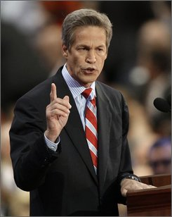 Sen. Norm Coleman, R-Minn., speaks at the Republican National Convention in St. Paul, Minn., Wednesday, Sept. 3, 2008. (AP Photo/Paul Sancya)