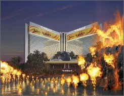 This undated graphic rendition of the Mirage hotel and casino provided by the design firm WET shows erupting volcano on the Strip in Las Vegas. The volcano is getting 120 new fireball-throwing devices that will be choreographed to erupt in sync with a rumbling drum score co-composed by former Grateful Dead drummer Mickey Hart and piped into the desert air through a high-tech sound system. (AP Photo/Courtesy of WET)