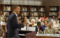 Democratic presidential candidate Sen. Barack Obama, D-Ill. speaks during a town hall meeting at Granby High School in Norfolk, Va., Wednesday, Sept. 10, 2008.  (AP Photo/Chris Carlson)