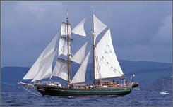 This is an undated handout image released by Coiste an Asgard  of the tall ship Asgard II  which sank off the coast of France Thursday Sept.  11 2008.  Ireland's majestic sail-training ship, the Asgard II, sank mysteriously off the French coast Thursday, but its 25 passengers and crew escaped safely on lifeboats. Commandant Fergal Purcell, spokesman for the Irish Defense Forces, said French rescuers took everyone in the lifeboats to the island of Belle-Ile-en-Mer, about 10 miles (15 kilometers) off the coast of Brittany. (AP Photo/Coiste an Asgard, Ho)