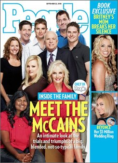 This undated image provided by People Magazine shows the cover of the magazine, which features an interview with Republican presidential candidate Sen. John McCain, R-Ariz. and his family. The issue will be on newsstands on Friday. (AP Photo/People Magazine)
