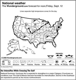 The forecast for noon, Friday, Sept. 12, 2008 shows Hurricane Ike is expected to strengthen to a major Category 3 hurricane as conditions over The Gulf of Mexico become favorable for intensification. Storms in the Southeast are expected to persist as Ike moves northwestward. (AP Photo/Weather Underground)