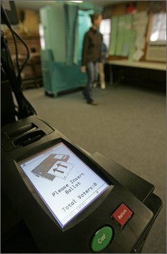 A new electronic voting machine is set up for handicapped voters during primary day in Nassau, N.Y., Tuesday, Sept. 9, 2008.  According to a recent government report, 80 percent of states have spent more than half of the money they received under the Help America Vote Act to upgrade their voting machines and systems.  New York, New Hampshire and Oklahoma have spent only about 10 percent of their federal dollars, either by dithering or by design.  (AP Photo/Mike Groll)