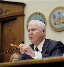 Defense Secretary Robert Gates testifies on Capitol Hill in Washington, Wednesday, Sept. 10, 2008, before the House Armed Services Committee hearing on the security and stability in Afghanistan and Iraq. (AP Photo/Susan Walsh)