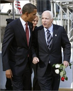 Democratic presidential candidate, Sen. Barack Obama, D-Ill.,left and Republican presidential candidate Sen. John McCain, R-Ariz.  pay their respects at the site of the World Trade Center during a commemoration ceremony in New York, Thursday, Sept. 11, 2008. (AP Photo/Shannon Stapleton, Pool)
