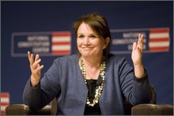 Elizabeth Edwards, the wife of former Sen. John Edwards, speaks to the audience at the National Constitution Center about health care in the upcoming presidential election, Tuesday, Sept. 16, 2008, in Philadelphia.  Democratic presidential candidate Sen. Barack Obama, D-Ill., said in June that he would partner with Elizabeth Edwards on a health care plan. (AP Photo/Tom Mihalek)