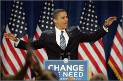 Democratic presidential candidate Sen. Barack Obama, D-Ill. addresses supporters at a rally in Golden, Colo., Tuesday, Sept. 16, 2008. (AP Photo/Ed Andrieski)