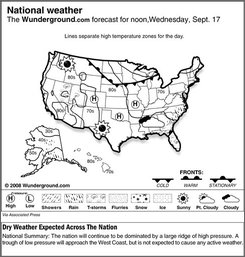 The Weather Underground forecast for Wednesday, Sept. 17, 2008, shows that the nation will continue to be dominated by a large ridge of high pressure. A trough of low pressure will approach the West Coast, but is not expected to cause any active weather. (AP Photo/Weather Underground)