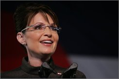 Republican vice presidential candidate, Alaska Gov. Sarah Palin speaks during a campaign rally in Golden, Colo., Monday, Sept. 15, 2008. (AP Photo/Jack Dempsey)
