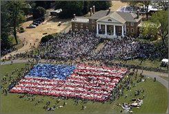 "A Living Flag made up of 2,500 school children, was created on the grounds of Montpelier,the  home of James Madison, the fourth president of the United States, as part of the Restoration Celebration which unveiled the $24 million, five-year restoration of the building.  While the children held colored placards, Eric Greene of the Virginia Opera Company sang ""The Star Spangled Banner.""  The event took place on Constitution Day Wednesday, Sept. 17, 2008.  Madison is generally referred to as Father of the Constitution.  (AP Photo/ P. Kevin Morley/Richmond Times-Dispatch)"