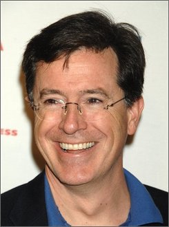 "In this May 3, 2008 file photo, TV Personality Stephen Colbert arrives at the premiere of ""Speed Racer"" during the 2008 Tribeca Film Festival in New York.    (AP Photo/Peter Kramer, file)"