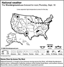 The Weather Underground forecast for Thursday, Sept. 18, 2008, shows a trough of low pressure moving across the West  will initiate thunderstorm activity across  northeastern California, portions of the Central Great Basin, and northern Arizona. Meanwhile, stormy weather in the Southeast is expected to persist. (AP Photo/Weather Underground)