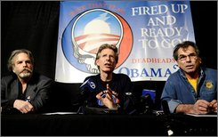 In this Feb. 4, 2008 file photo, members of the Grateful Dead, from left, Mickey Hart, Phil Lesh and Bob Weir speak at a news conference before performing a fundraising concert for presidential hopeful Sen. Barack Obama, D-Ill., in San Francisco.  (AP Photo/Noah Berger, file)