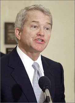 In this March 16, 2004 file photo, Rep. Mark Foley, R-Fla. speaks at a news conference  in Tallahassee, Fla.  (AP Photo/Phil Coale, File)