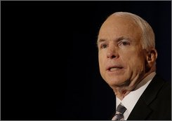 Republican presidential candidate Sen. John McCain, R-Ariz., delivers a policy speech on the countries current economic crisis, Friday, Sept. 19, 2008, in Green Bay, Wis. (AP Photo/Stephan Savoia)