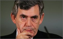 Britain's Prime Minister Gordon Brown reacts during his monthly press conference in Downing Street, London, Thursday, Sept. 11, 2008. He rarely smiles, even though his handlers have tried to teach him how. He often appears uncomfortable with voters, and rarely seems happy. And that was the case even when was on his political honeymoon as Britain's new prime minister. Now he heads into his party convention this weekend threatened by the global financial crisis and by rebels in his own party. (AP Photo/Mark Large/pool)