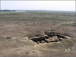 This Aug. 15, 2005 photo gives an aerial view of the citadel of Itil, a Silk Road city that served as the Khazar capital, near Astrakhan, about 800 miles (1280 km) south of Moscow. The Khazars established the first feudal state in eastern Europe. A Russian archaeologist says he has found the lost capital of the Khazar empire, a powerful medieval state that once stretched from the northern shores of the Black Sea to Central Asia and whose rulers adopted Judaism as their state religion. (AP Photo/Emma Zilivinskaya)