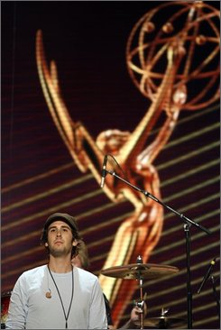 Singer Josh Groban is seen while rehearsing the musical medley for the 60th annual Primetime Emmy Awards in Los Angeles on Friday, Sept. 19, 2008.  The Primetime Emmy Awards will be held on Sunday, Sept. 21, in Los Angeles.  (AP Photo/Matt Sayles)