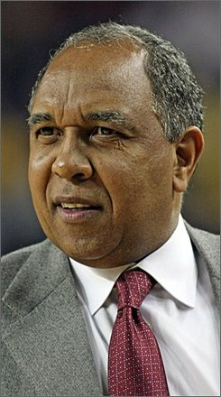 In this Jan. 31, 2008 file photo, Minnesota basketball  head coach Tubby Smith is shown during a college basketball game against  Michigan in Ann Arbor, Mich. A nephew of coach Tubby Smith was stabbed to death during a fight at an off-campus apartment early Sunday Sept. 21, 2008 in Worcester, Mass. (AP Photo/Tony Ding, File)
