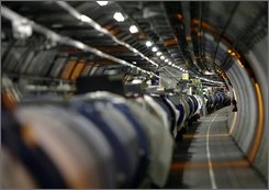 In this file photo dated May 31, 2007, part of the LHC (Large Hadron Collider) is seen in its tunnel at the CERN (European Center for Nuclear Research) near Geneva, Switzerland. The world's largest atom smasher, which was launched with great fanfare earlier this month, has been damaged worse than previously thought and will be out of commission for at least two months, its operators said Saturday, Sept. 20, 2008. (AP Photo/Keystone, Martial Trezzini, File)