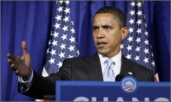 Democratic presidential candidate Sen. Barack Obama, D-Ill. speaks to the media during a press conference in Clearwater, Fla., Tuesday, Sept. 23, 2008.  (AP Photo/Chris Carlson)