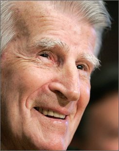 Former Boston Red Sox player Johnny Pesky smiles during a news conference before a baseball game between the Cleveland Indians and the Red Sox, Tuesday, Sept. 23, 2008, in Boston. The Red Sox announced that the team will retire Pesky's No. 6. Pesky turns 89 on Saturday. (AP Photo/Michael Dwyer)