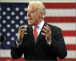 Democratic vice presidential candidate Sen. Joe Biden, D-Del. speaks during a rally at the Woodbridge Community Center in Woodbridge, Va., Tuesday, Sept. 23, 2008.  (AP Photo/Steve Helber)