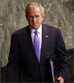 President Bush walks away from the podium after delivering remarks at the 63rd session of the United Nations General Assembly, Tuesday, Sept. 23, 2008, in New York. (AP Photo/Pablo Martinez Monsivais)