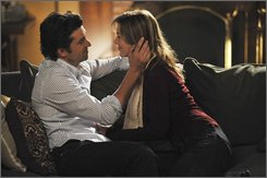 "In this image released by ABC, Patrick Dempsey, left, and Ellen Pompeo are shown in a scene from,  ""Grey's Anatomy,"" premiering, Sept. 25, 2008, at 9:00 p.m. EDT on the ABC Television Network. (AP Photo/ABC, Eric McCandless)"