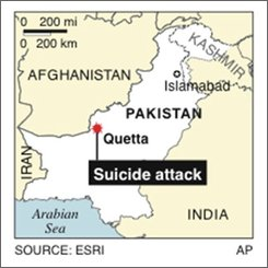 Map locates suicide bombing in Quetta, Pakistan; 1c x 1 7/8 inches; 46.5 mm x 47.6 mm