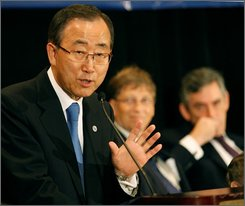 United Nations Secretary General Ban Ki-Moon speaks at the United Nations 2008 Millennium Development Goals Malaria Summit in New York, Thursday, Sept. 25, 2008.  Bill Gates, center and Briitish Prime  Minister Gordon Brown, right, listen. Malaria as a mass child killer would be virtually eliminated globally by 2015 under a plan backed by nearly $3 billion in pledges, officials said Wednesday. (AP Photo/Kathy Willens)