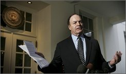 Sen. Richard Shelby, R-Ala., ranking member of the Finance Committee, speaks to the media outside the West Wing of the White in Washington, Thursday, Sept. 25, 2008, after a meeting with President Bush, congressional leaders and the presidential nominees on the financial crisis. (AP Photo/Haraz N. Ghanbari)