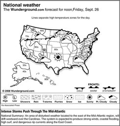 The forecast for noon, Friday, Sept. 26, 2008 shows an area of disturbed weather located to the east of the Mid-Atlantic region, will drift westward over the Carolinas. The system is expected to produce strong winds, coastal flooding, high surf, and dangerous rip currents along the East Coast. (AP Photo/Weather Underground)