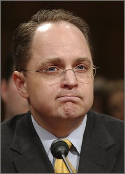 In this March 29, 2007 file photo, Kyle Sampson, former chief of staff of Attorney General Alberto Gonzales, testifies on Capitol Hill in Washington. (AP Photo/Dennis Cook, File)